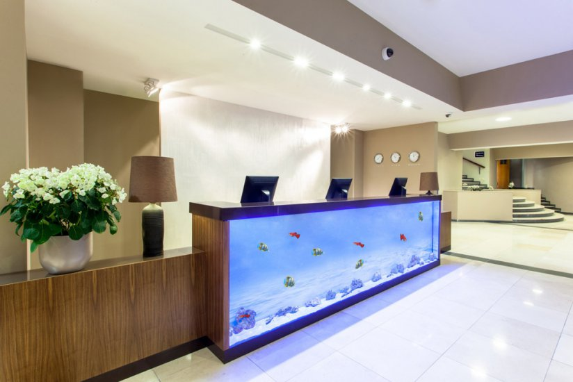 Fish tank reception desk unique 12ft reception desk for Fish tank desk