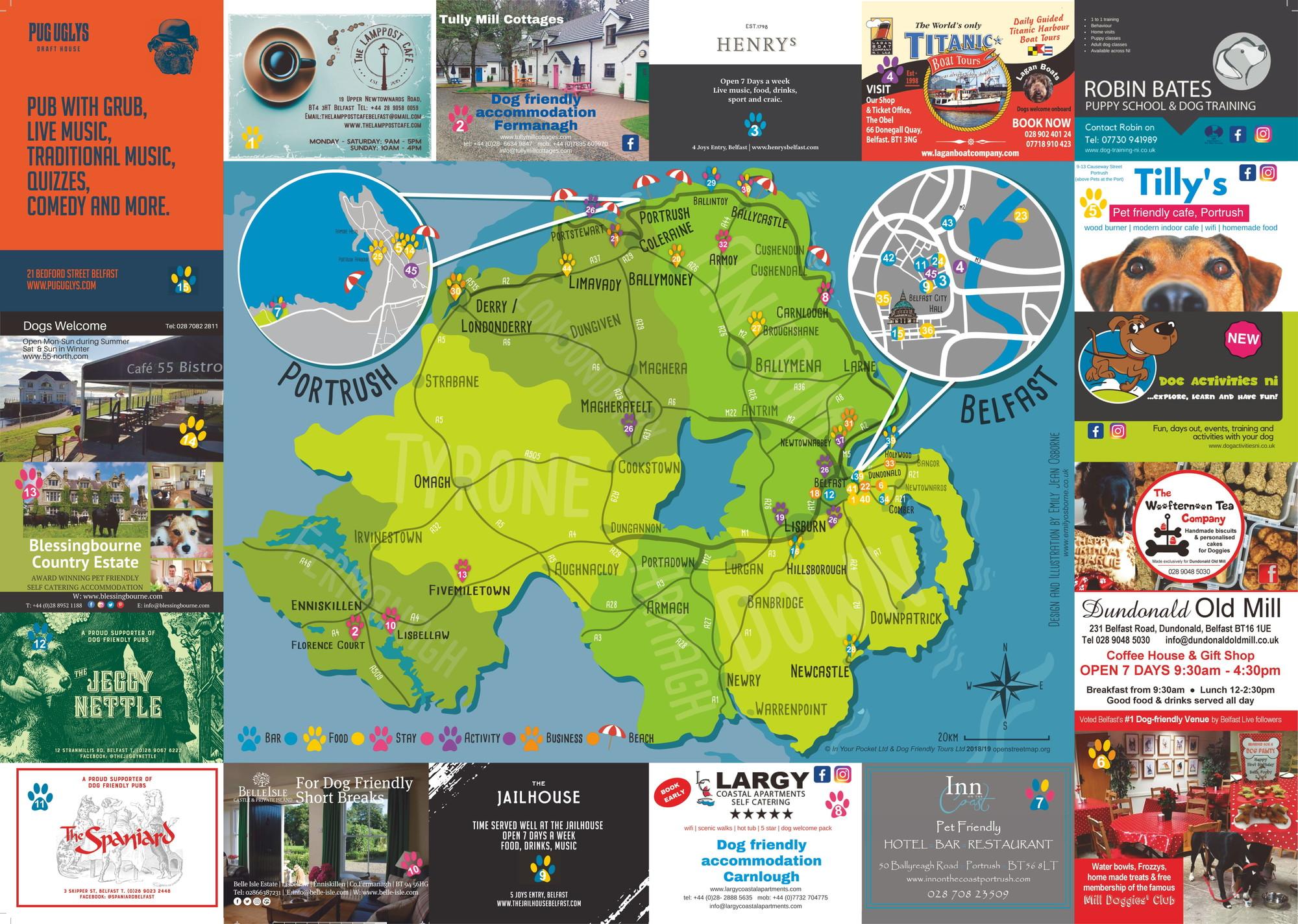 Map Of N Ireland.Dog Friendly Belfast N Ireland
