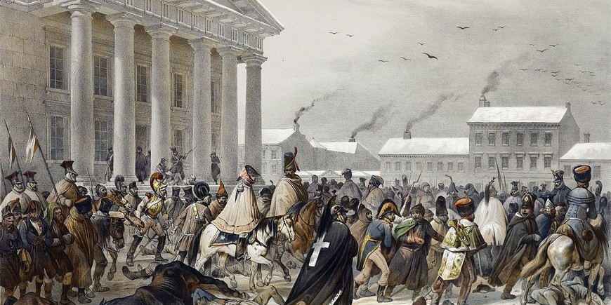 French Army in the Town Hall Square of Vilnius during the retreat