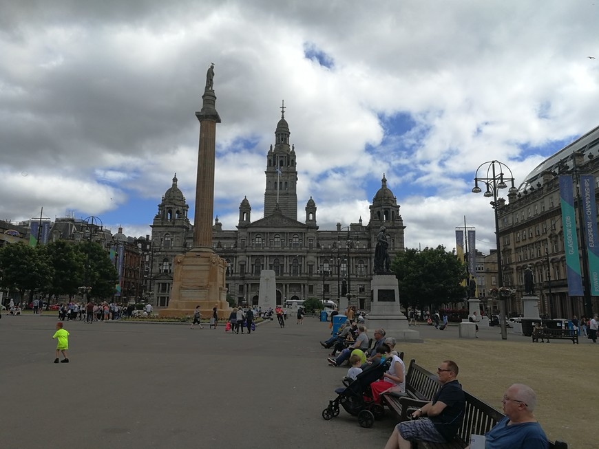 The statue of Sir Walter Scott has pride of place in the center of the square