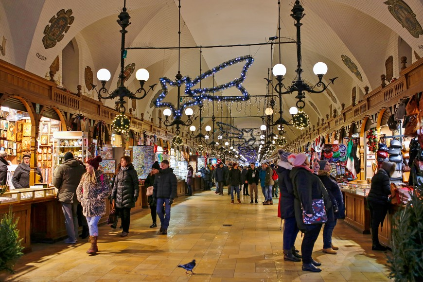 Holiday shopping in Kraków's Cloth Hall souvenir market.