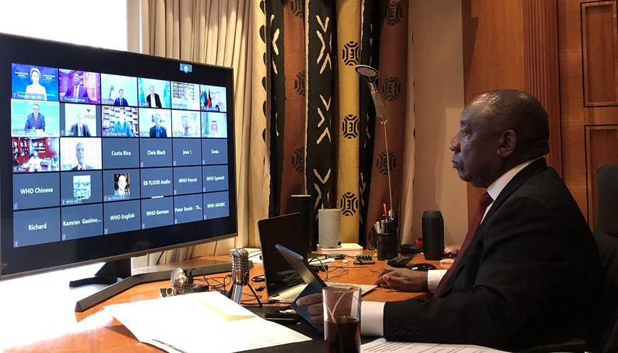 Cyril Ramaphosa joins a Zoom call with the World Health Organisation