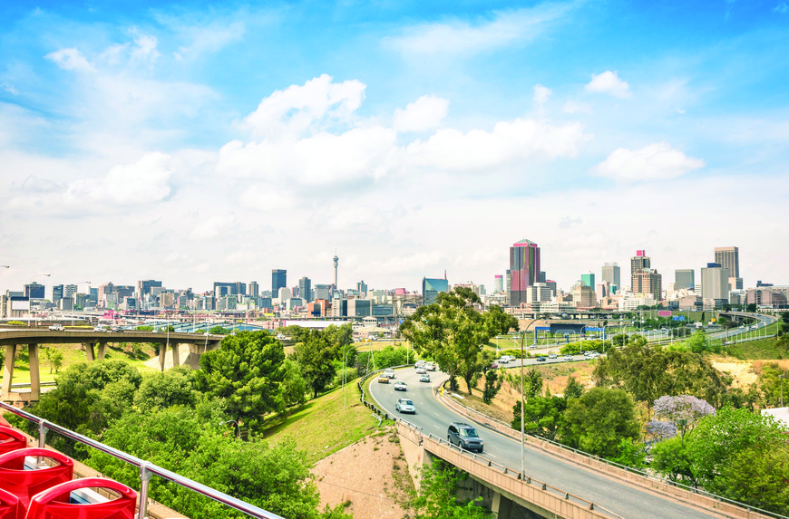 The Joburg skyline as seen from the City Sightseeing bus