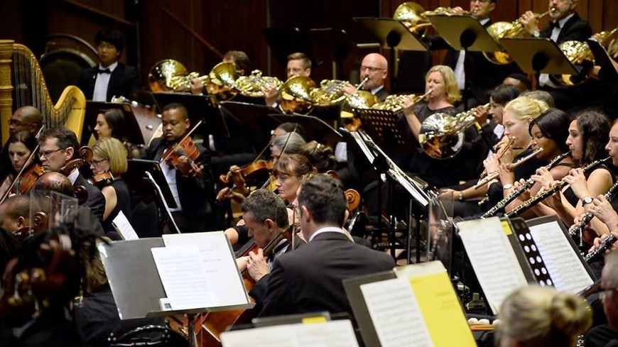 The Johannesburg Philharmonic Orchestra performing at Linder Auditorium