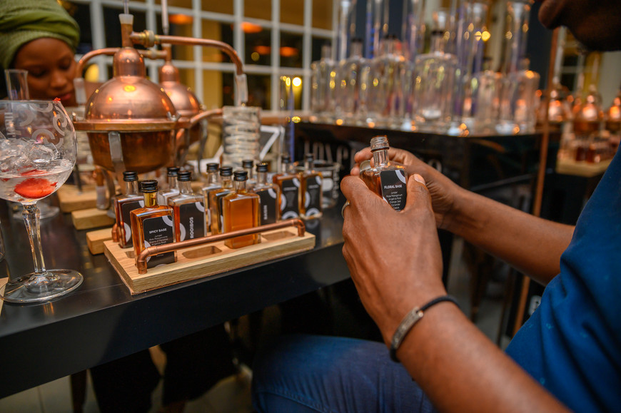 Mixing botanicals and tinctures at The Gin School at Indaba Hotel