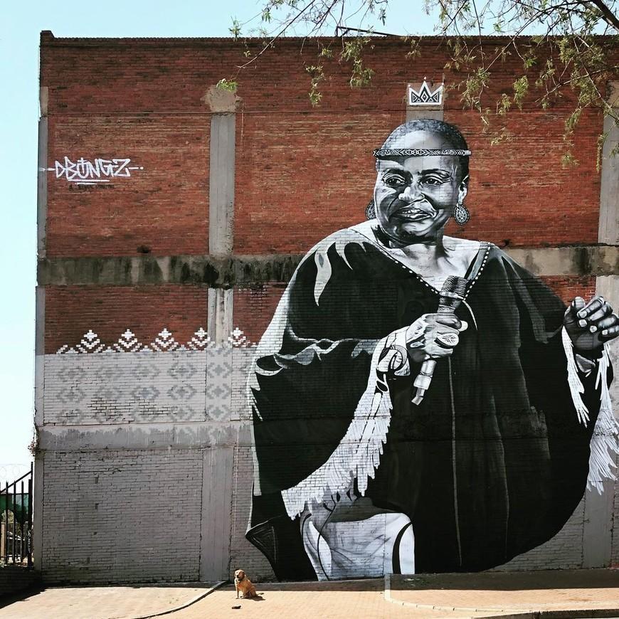 Miriam Makeba mural by Dbongz in Newtown