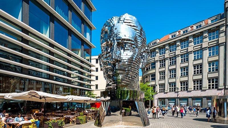 Franz Kafka Head Sculpture by David Cerny in Prague © OlegGr / Shutterstock.com