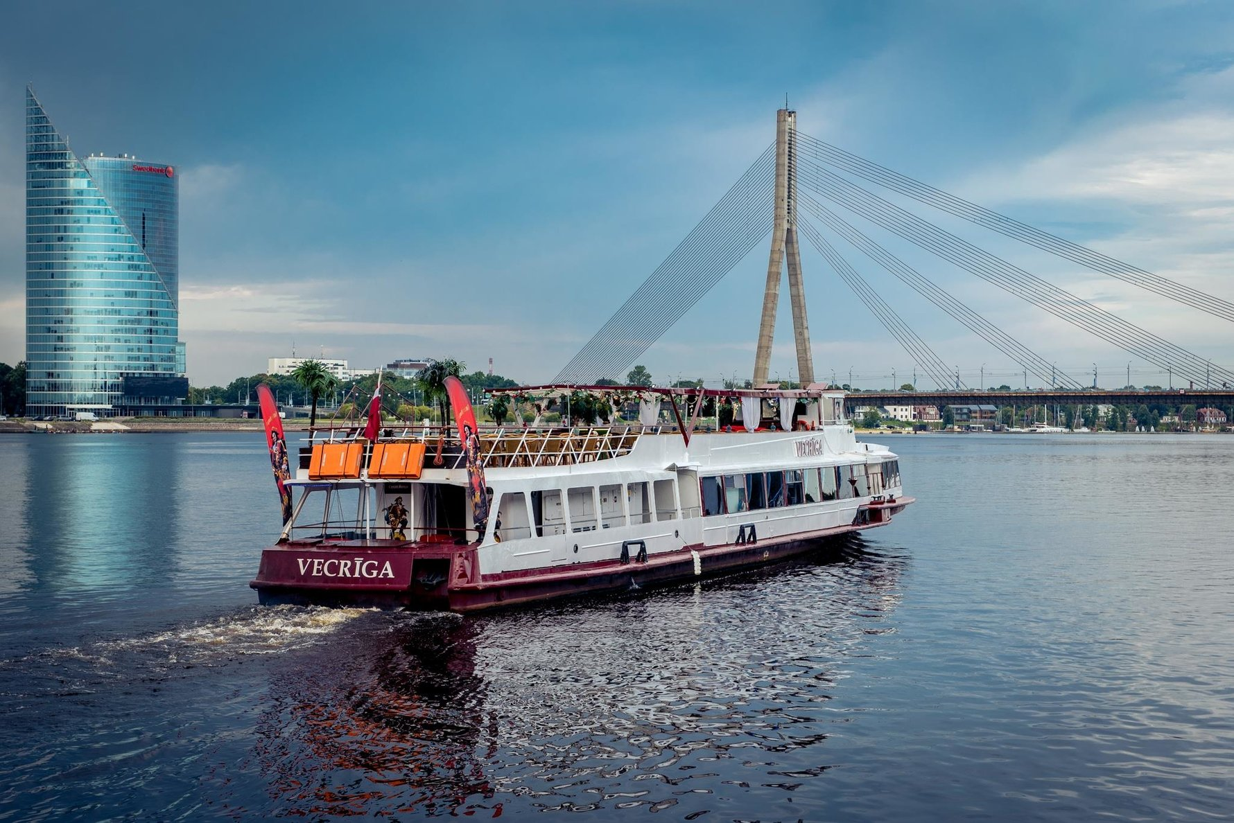 The Vecrīga cruise ship on the River Daugava