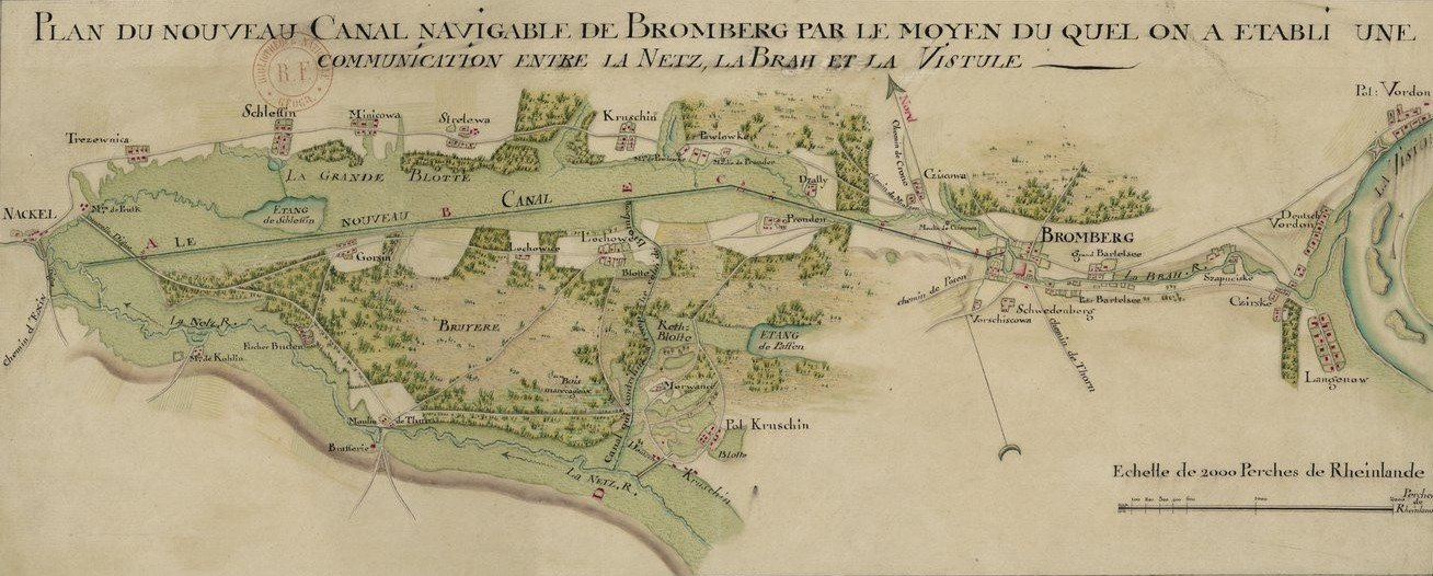 French-produced map of the Bydgoszcz Canal, 1788.  Source: Bilioteque Nationale De France