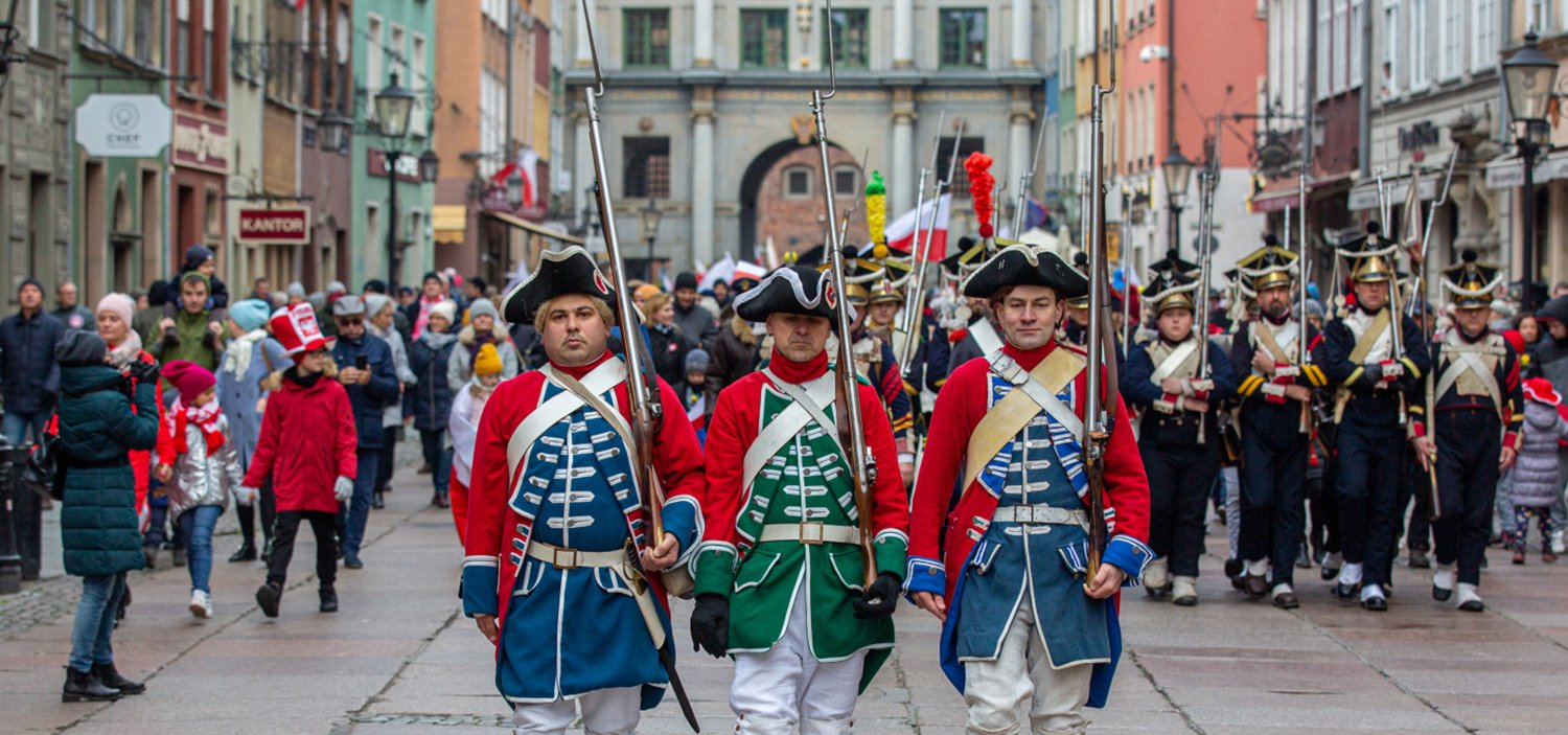Historic Reenactors on Polish Indepence Day in Gdańsk Old Town.