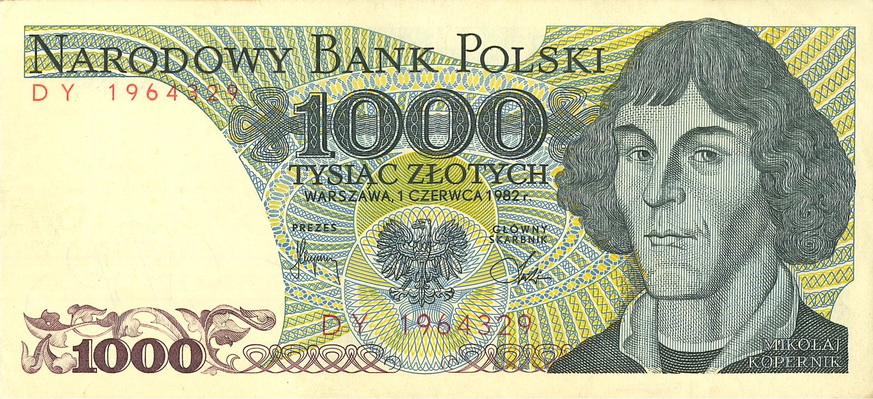 Copernicus on 1000zł banknote