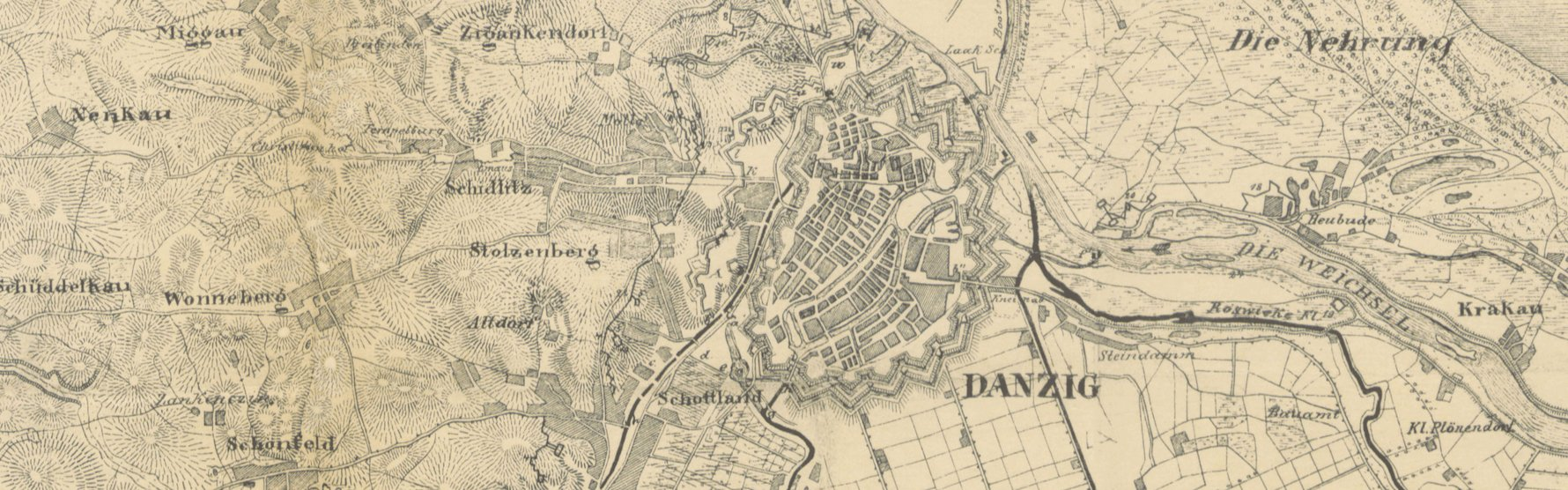 Map of Danzig, 1814