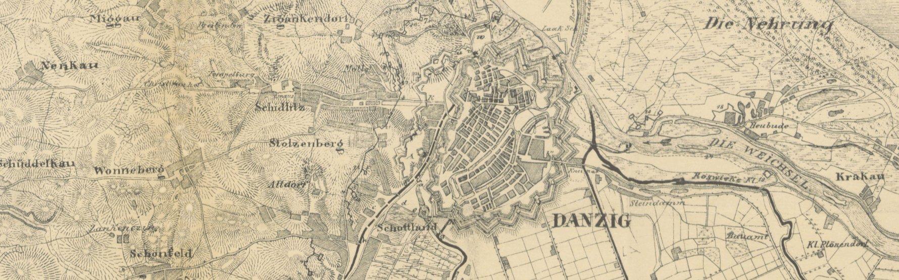 Map of Danzig, 1814
