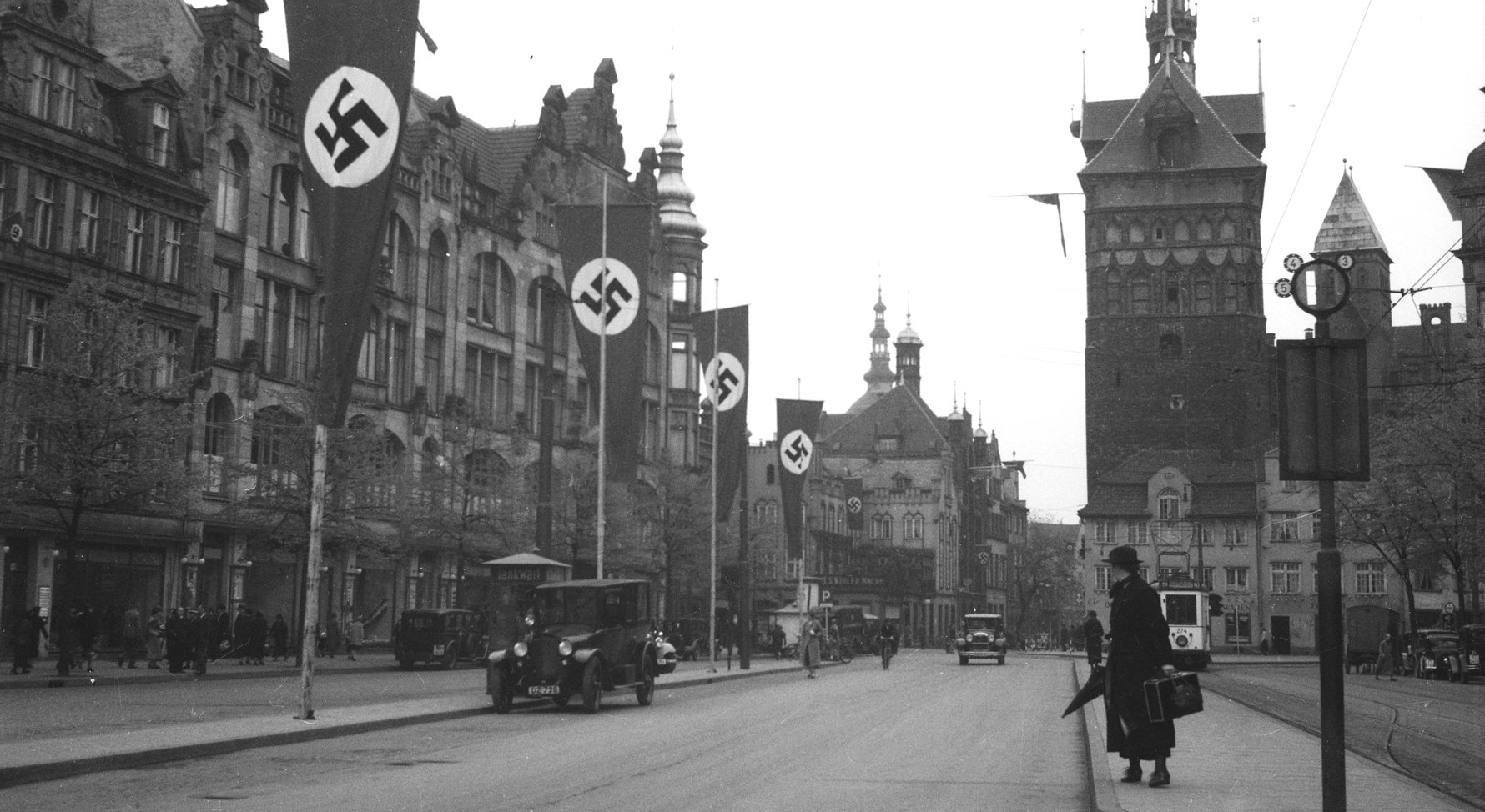 Swatstikas flying in Nazi-dominated Danzig in 1937