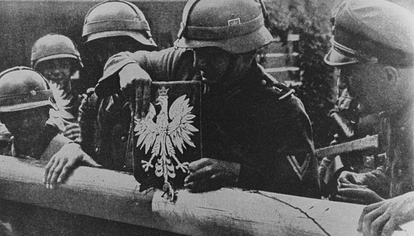 German troops removing the Polish crest Danzig border post, Sept 1939