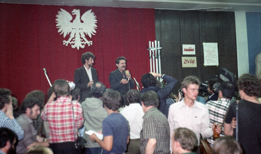 Lech Wałęsa speaking during 1980 strikes in Gdańsk