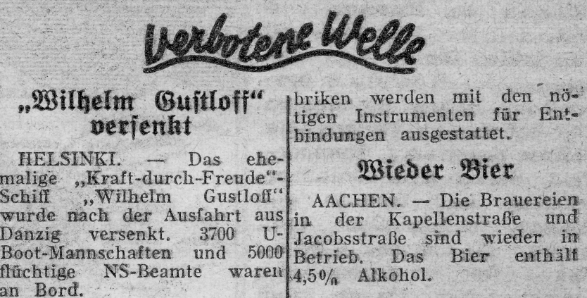 Excerpt from Feldpost, 1945, reporting the sinking of the Wilhelm Gutloff