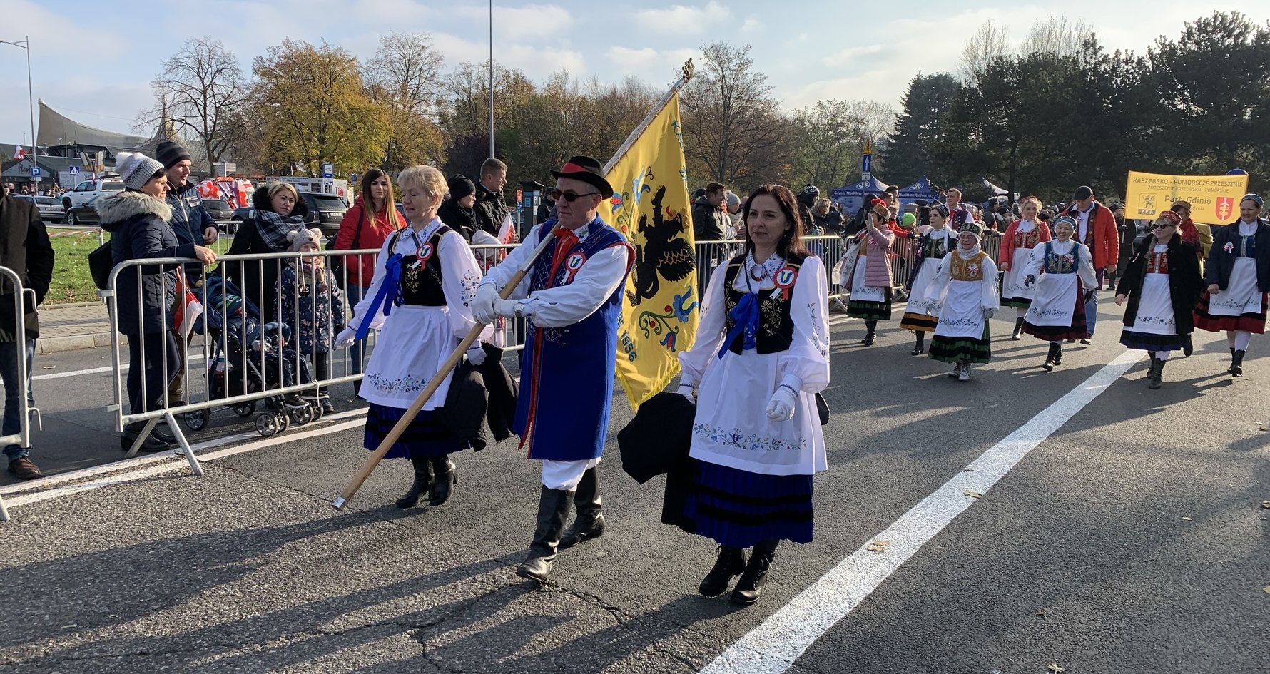 Kashubians in traditional dress at an Independence Day Parade in Gdynia