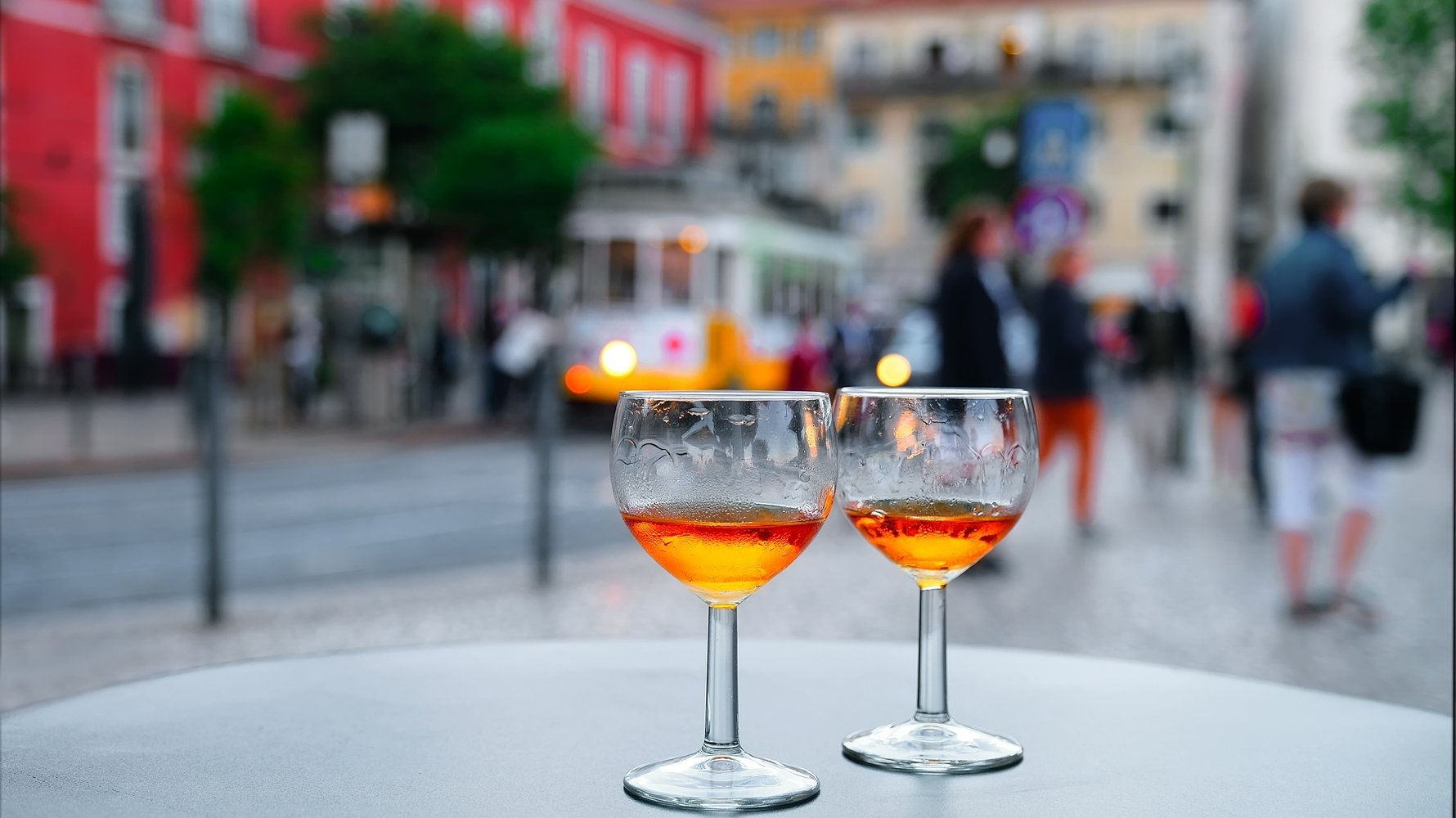 © ver0nicka Shutterstock.com Port wine glasses in the cafe of Lisbon, Portugal