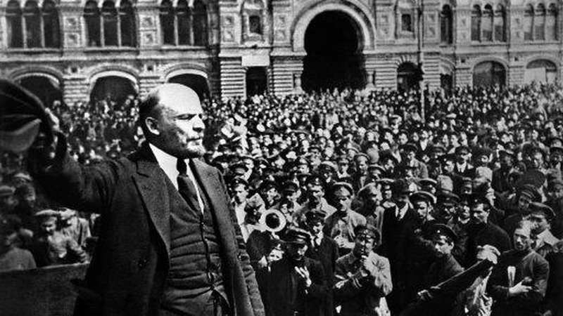 Russian Revolution Attractions in Moscow - Lenin Addresses Crowd