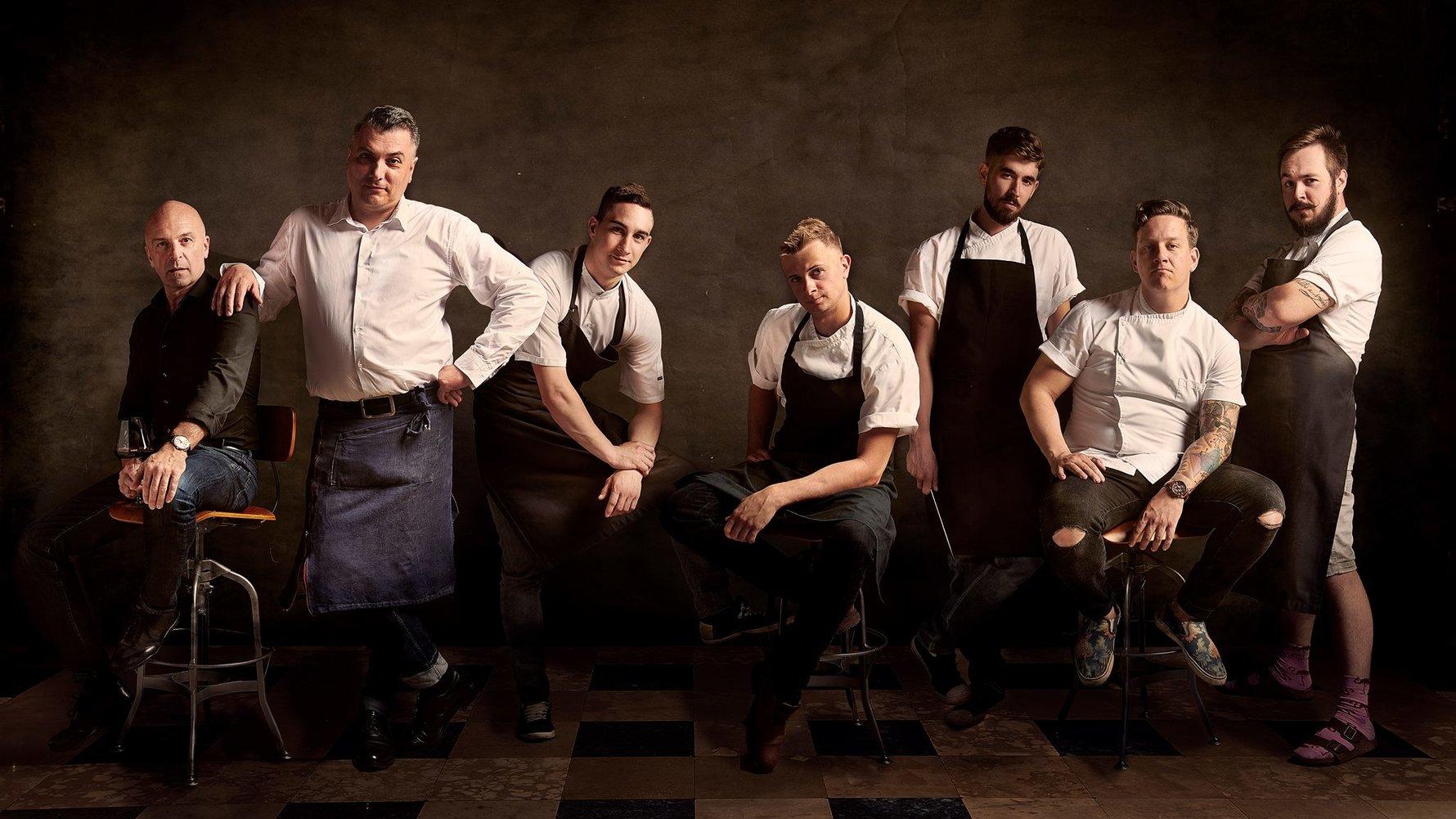 Matjaž Ivanc, Vojislav Preda, Martin Končan, Toni Strnad, Saša Žerjal, Jorg Zupan and Timi Rožič at Atelje Restaurant